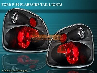 97-00 Ford F150 F-150 Flareside Tail Lights Black 98 99