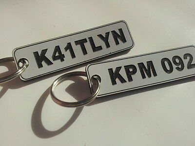 Number Plate Personalised Keyring LASER ENGRAVED car custom numberplate key ring