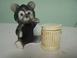 Vintage Bear and Trash Can Salt and Pepper