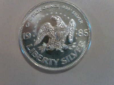 1985 A Mark Precious Metals 1 Oz Pure Silver Round