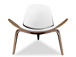 Premium Hans Wegner Shell Chair - PU Leather White Replica