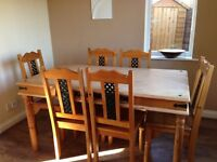 Six seat dining set for sale with 5 chairs