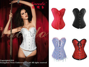 Sexy-Steel-Busk-Corset-Bustier-S-M-L-Sweetheart-Boned-Lace-Up-G-String-A819