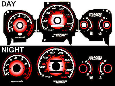 96 97-98 99 -00 Honda Civic Ex Red Glow Gauge Gauges Type R Black Mt Night Glow