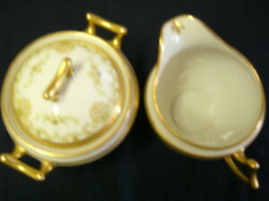ANTIQUE LIMOGES COVERED SUGAR BOWL AND CREAMER