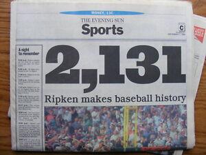 "FS: 1995 Cal Ripken Jr. ""Commemorative"" Baltimore Evening Sun Ne London Ontario image 2"