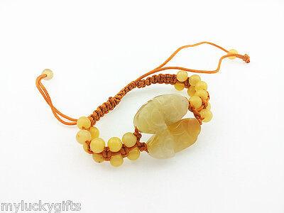 Feng Shui Double Yellow Jade Pi Yao Pixiu bracelet  with adjustable string