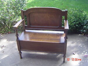 2 pc. Antique Set: deacon's bench and matching mirror