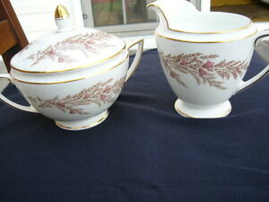 BEDFORD PATTERN COVERED SUGAR BOWL AND CREAMER BY MINTON