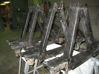 Set of 4 Roller and Moveable car stands for restoration work