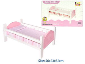 NEW PRETTY WOODEN PINK BABY DOLL BED COT w/ BEDDING NON-TOXIC PAINT accessories