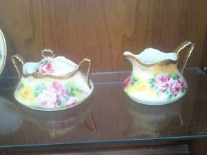 LIMOGE CREAMER & SUGAR BOWL & TEA CUP SET
