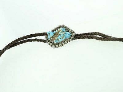 Large Kingston Mine Turquoise & Silver 38 inch long Western Bolo Tie