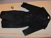 Navy all Weather dress coat, size 14 petite.