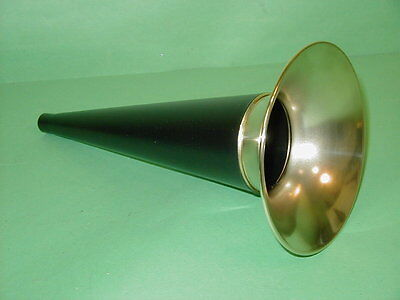 "Columbia Edison 10-3/4"" Black and Brass Cylinder Phonograph Horn Gem Eagle Q"