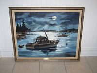 ORIGINAL OIL PAINTING YACHT SAIL BOAT MOONLIGHT NAUTICAL SCENE