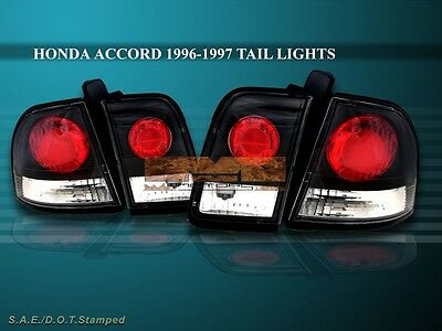 1996 1997 Honda Accord Tail Lights Jdm Black 4 Pieces