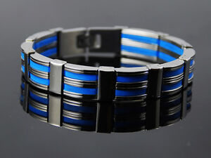 b167-Blue-Rubber-Inlay-Mens-Stainless-Steel-Bracelet