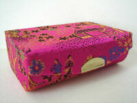 Lipstick Holder / Case - Chinese Pattern Silk - Fuchsia