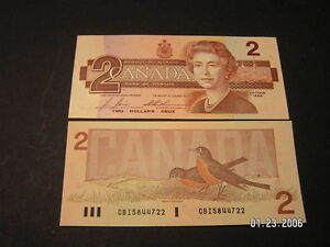 Two  Dollar Bills Canadian