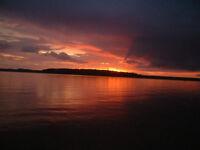 Balsam lake Kawartha Private Sunset Cottage Rental 416-693-7579