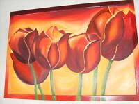 Selbstgemaltes Aqrylmalerei Tulpen inkl. Bilderrahmen 70x100 Kalk - Köln Brück Vorschau