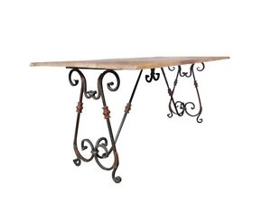 French Provincial & Industrial Rustic Dining Table with Ornate Metal legs