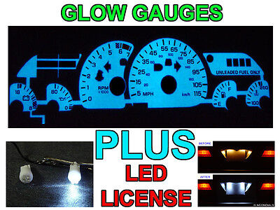 Free Ship 1993-1996 Chevy Camaro V6 115mph Glow Gauge Faces + Led License Bulbs