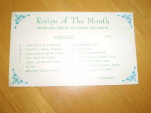 VINTAGE RECIPE OF THE MONTH ADVERTISING CARDS FROM UNION GAS Windsor Region Ontario image 1