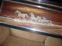 Gemälde Öl/Acryl? auf Leinwand, Pferde Herde am Strand Nordrhein-Westfalen - Elsdorf Vorschau