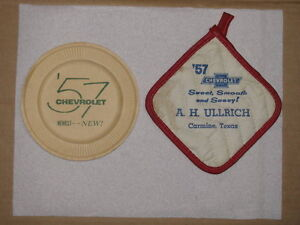 1957 Chevrolet Paper Plate and Pot Holder Promo Items.