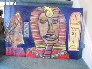 Toile intitulée : Les pharaons 100$ + trépied en bois 100$ West Island Greater Montréal image 2