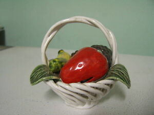 Vintage Porcelain Lattice Basket with Fruit