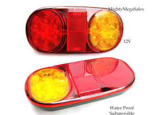 2 x LED  Trailer Tail Lights, Boat, Ute, Jet Ski, Parts Submersible 12V