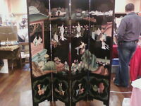 Asian Black Laquer Room Divider Beautifully Handcarved and Painted