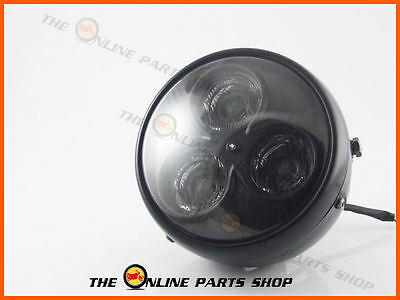 "Universal Motorcycle 7"" Mat Black Led Headlight Ducati Moto Guzzi Ajs Cafe Racer"