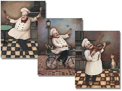Set of Three Jolly Chef Prints 8x10 Inches Kitchen Wall Decor Posters on Rummage