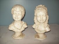 RARE GIROTTI 1972 MALE & FEMALE (BOY/GIRL) BUST STATUES