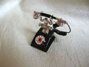 dollhouse-doll-house-miniature-FANCY-FRENCH-PHONE-BLACK