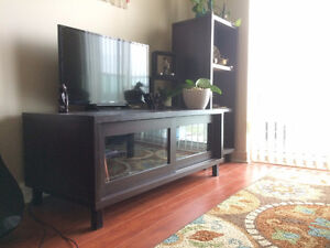 Dark brown TV table and matching shelves