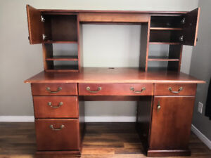 mahogany office desk with bookshelf