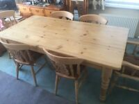 Pine dinning table & set of Beech dinning chairs