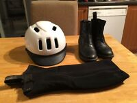 Girl's Horse Riding Helmet + Boots + Chaps for sale