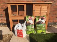 2 tier rabbit hutch, food and bedding