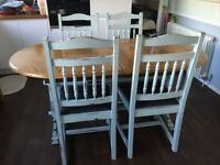 Dining table wood 4 chair oval extendable seats 4 5 6 7 8 9 10 shabby chic refurbished reupholstered