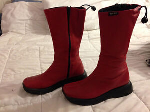Funky Red leather boots Size 40  or 8-9
