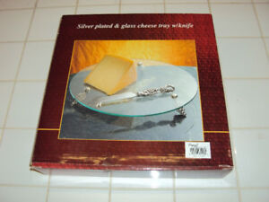 Silver Plated Glass Cheese Tray with Knife