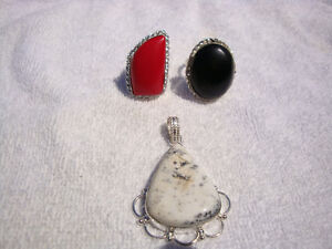 Sterling Silver 3 Pcs Red Coral Black Onyx All Stamped 925