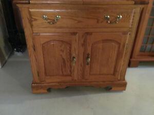 Unique Antique Oak/Brass Bar Cart/Cabinet