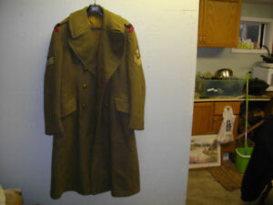 Vintage 50s Canadian Army Crops Wool Over Coat
